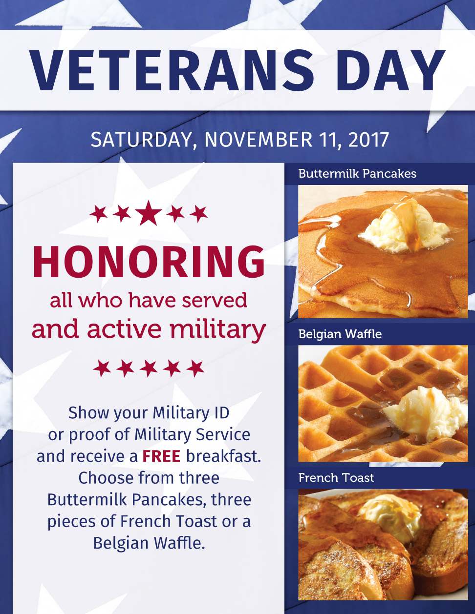 What Restaurants Give Free Food On Veterans Day